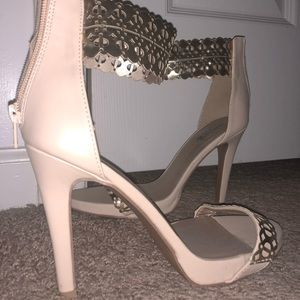 Charlotte Russe gold and nude heels worn once
